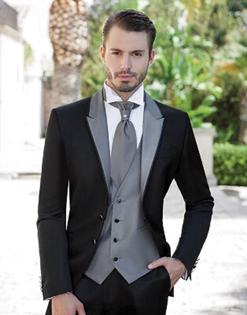Свадьба-мужчины-2015-M-0821-черный-смокинг-мужские-костюмы-уменьшают-подходящие-подходит-куртка-брюки-серый-жилет