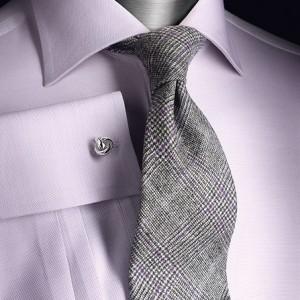 розовая рубашка со структурным рисунком с запонкой и галстуком