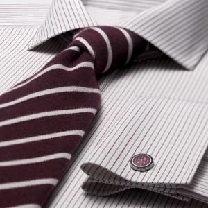 деловая рубашка в бордовую и серую полоски с запонкой и галстуком